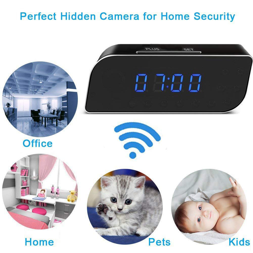 Novel 1080P Wireless Camera Alarm Clock Motion Detection Nanny DVR Night Vision for Home Security Shipping