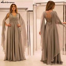 Custom Colors Mother of the Bride Dresses Chiffon Draping Appliques V Neck Floor Length Long Saudi