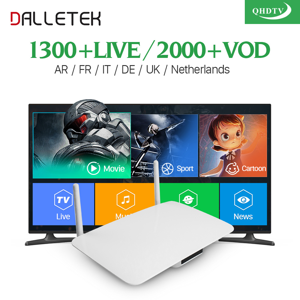 Dalletektv Arabic Android IPTV TV Box Smart QHDTV Code IPTV Abonnement 1300 Channels 3 6 12 Months Europe French Spain IPTV Box dalletektv leadcool qhdtv iptv box 1 year subscription europe french italia 1300 channels android 6 0 tv box arabic iptv top box
