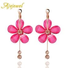 цена на Ajojewel Lampwork Glass Flower Hoop Earrings With Rhinestone Tassel Women Fashion Jewelry Wholesale Drop Shipping