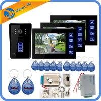 7 дюймовый 3 монитор видеофонная дверная система + ID брелков + Электрический замок + индуктивный карты Камера + Питание + Дверь Выход