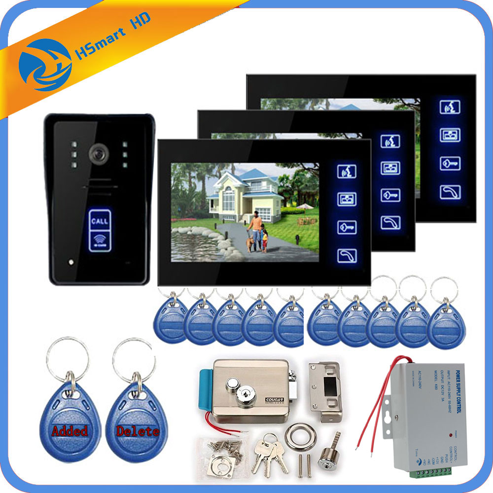 7inch 3 Monitor Video Door Phone Intercom System + ID Keyfobs + Electric Lock+Inductive Card Camera + Power Supply+ Door Exit
