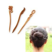 Для женщин классический Головные уборы Винтаж шик деревянный ручной резной деревянной палкой волос Булавки