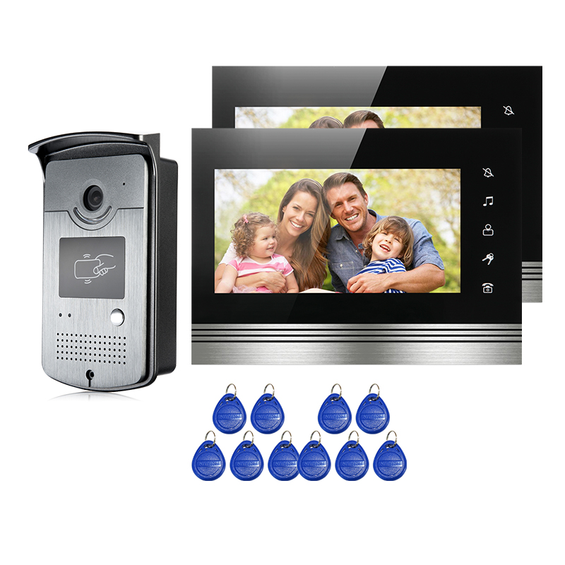 FREE SHIPPING NEW 7 Touch Screen Video Intercom Door Phone System 2 Monitors Night vision RFID Reader Doorbell Camera Wholesale набор форм для яичницы и омлета рассвет и сова tk 0162