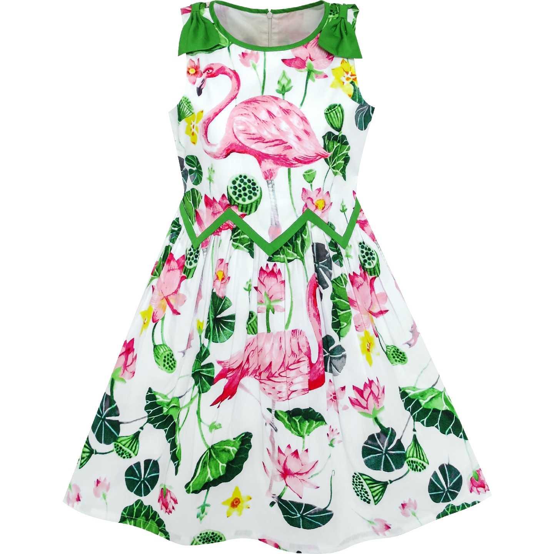 061164f5c5b0 Girls Dress Flamingos Lotus Wave Waist Bow Tie Cotton 2019 Summer Princess  Wedding Party Dresses Girl
