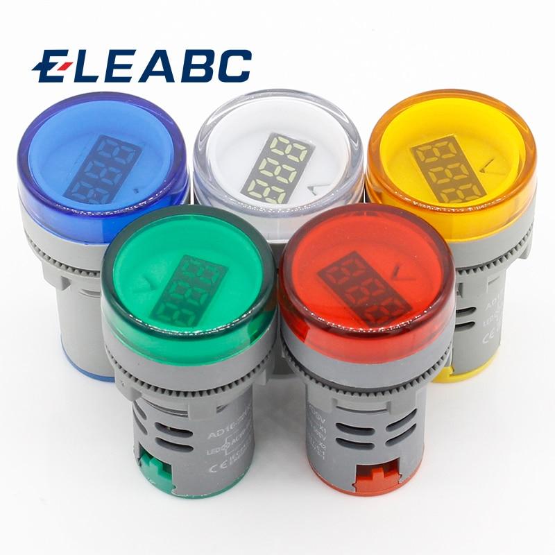 1pcs 22MM AC 60-500V LED Voltmeter Voltage Meter Indicator Pilot Light Red Yellow Green White Blue