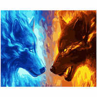 Painting By Numbers DIY Dropshipping 40x50 50x65cm Double-sided ice fire wolf Animal Canvas Wedding Decoration Art picture Gift