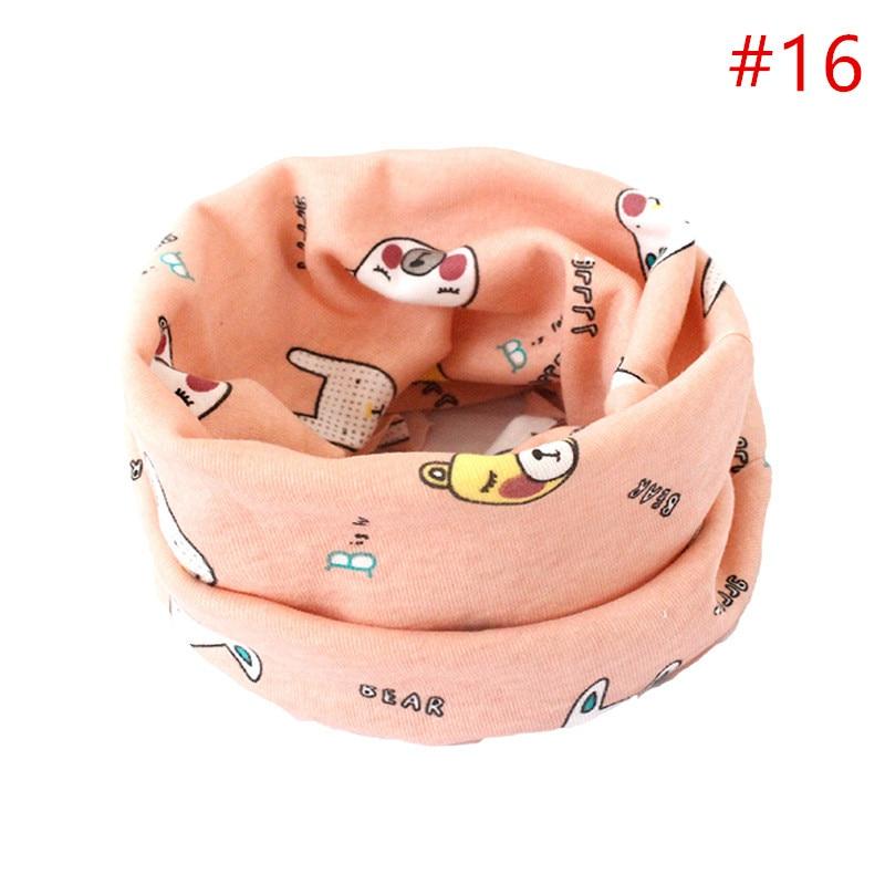 Детский хлопковый шейный шарф с милым принтом; детский теплый шарф; Детские воротники; осенне-зимний шарф-кольцо для мальчиков и девочек; аксессуары для детской одежды - Цвет: No.16