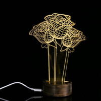 Valentine S Day Present 3D Unique Rose Lighting Effects Optical Illusion Home Decor LED Table Lamp