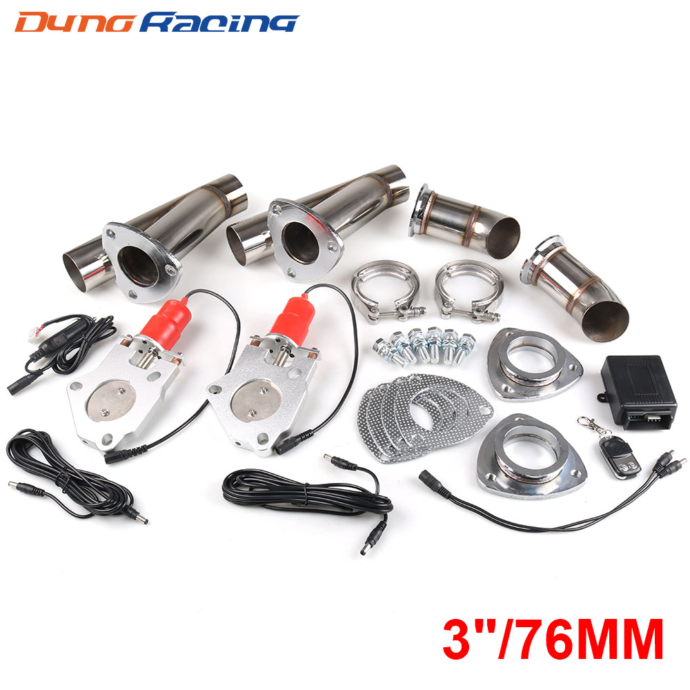 3'' Inch 76mm Double Exhaust Control Valve With Remote Control Car Electric Exhaust Valve Cut Outs Cutout Kit Y Pipe
