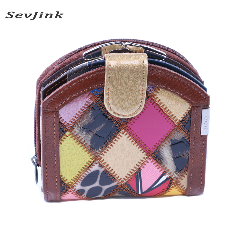 Genuine Leather Women Wallet Stitching Patchwork Purse Multicolors Zipper Hasp Card Coin Case Wallet Ladies Design Clutch Bag short hasp cowhide genuine leather women coin bag wallet stitching designer cartera purse female card wallet