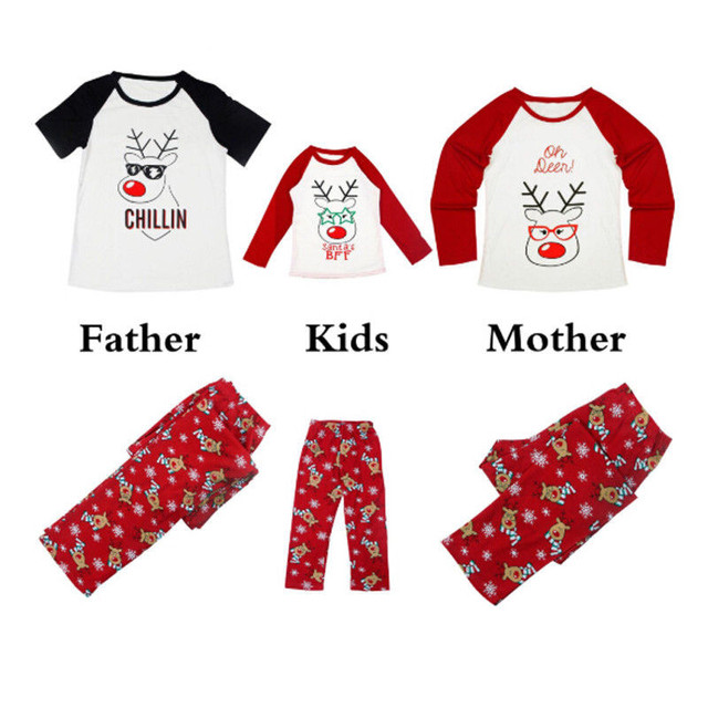 f0b427424259 Reindeer Xmas Family Matching Christmas Pajamas Set Adult Dad Mom Kid  Sleepwear Homewear 2Pcs Men Women