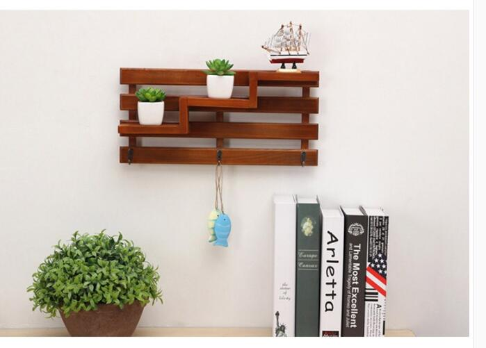 Creative Home Decorative Wall Decorative Wooden Shelf Wall Decorative Storage Consolidated Wall Decorative Key Chain 0450