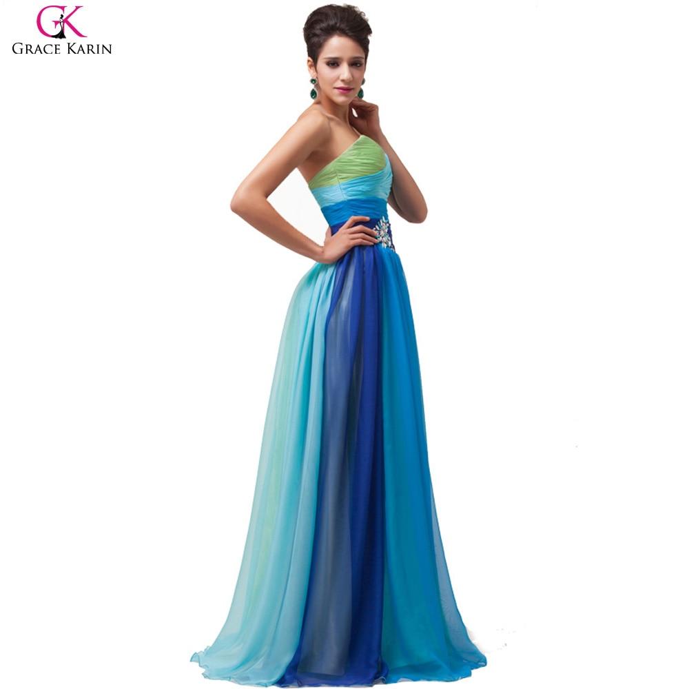 Rainbow Prom Dress Grace Karin Rainbow Plus Size Prom Dresses 2017 ...