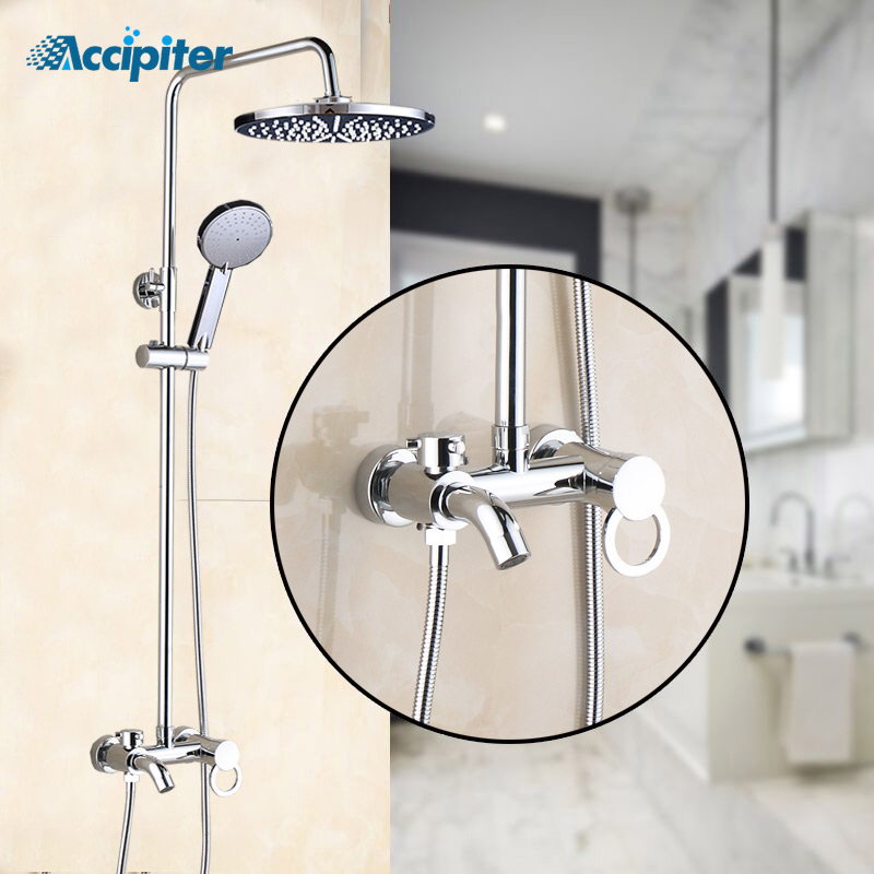 New Style Bathroom Shower Faucet Set 3 Functions Shower Mixer Tap with Shower Head Sprayer Chrome