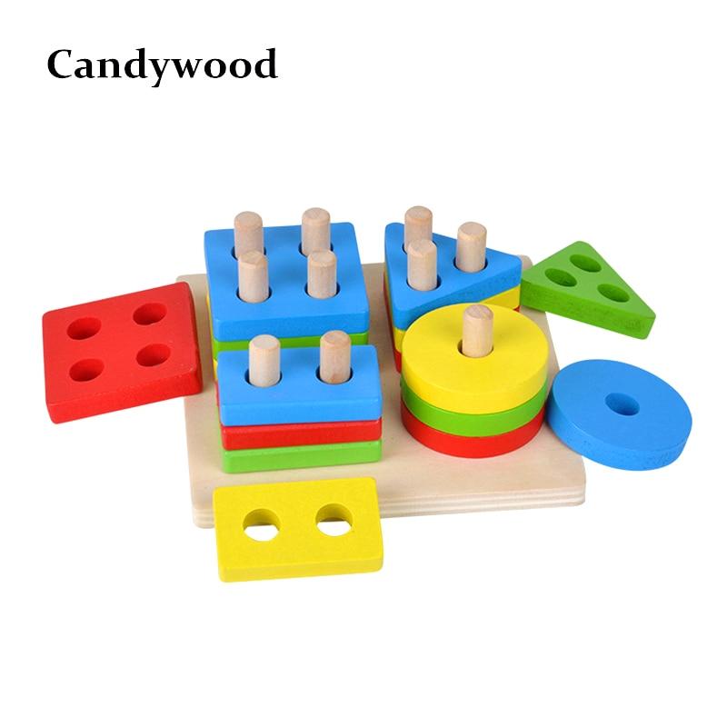 Juguetes para el desarrollo del cerebro del bebé Montessori Match juguete Geometric Sorting Board bloques de madera niños juguetes educativos bloques de construcción