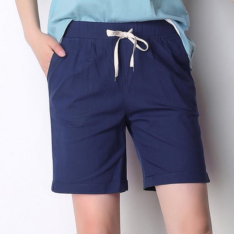 Plus Size Cotton Linen Women Shorts  Elastic Waist 2019 Summer New Casual Women Shorts Pockets Half Long Basic Shorts