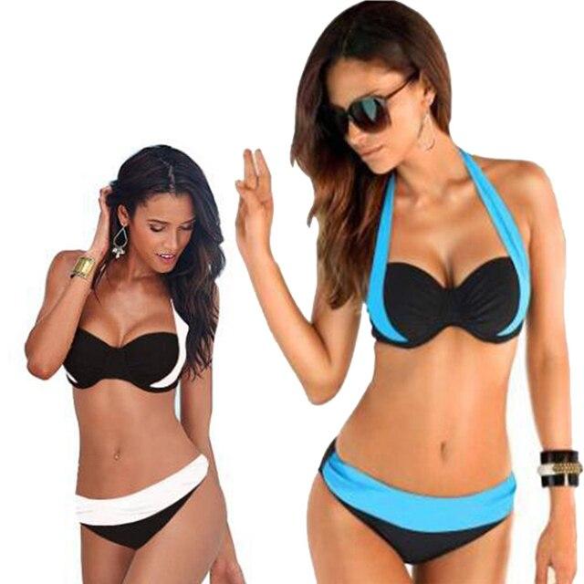 46f88ad9 € 9.75 |2017 Nuevas mujeres Atractivas Bikinis Traje de Baño de Las Mujeres  modelos de gran tamaño de cintura alta bikini Traje de Baño Halter ...
