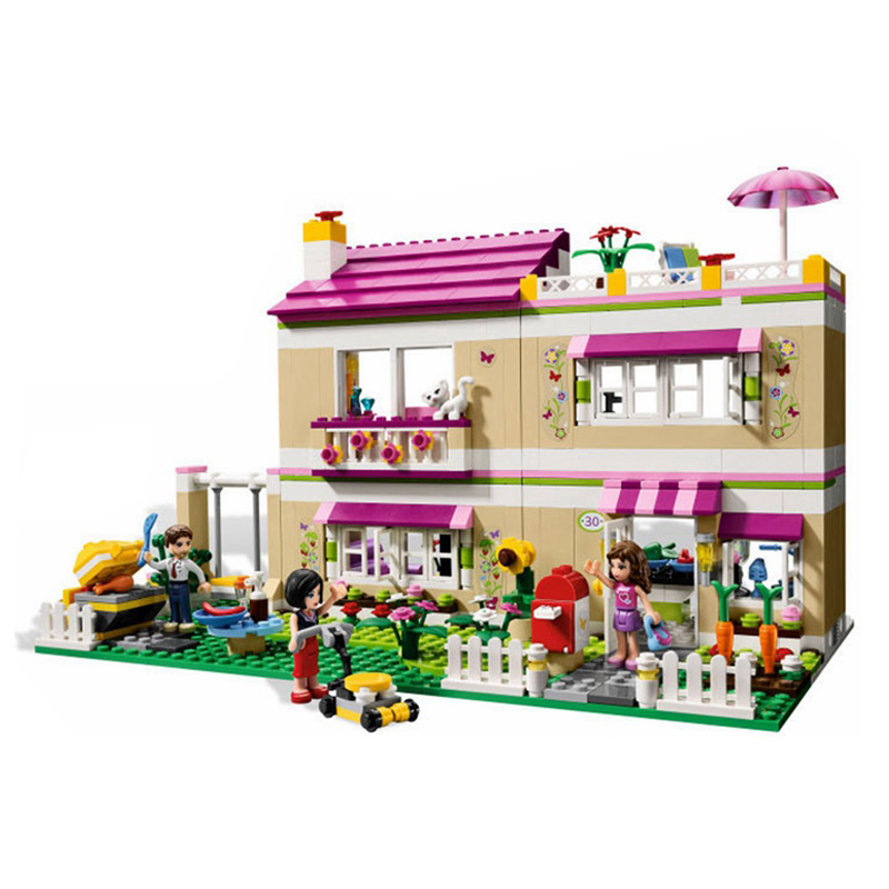 City Girl Friend Olivia 's House 695pcs Model Building Blocks Kit 3D Educational Toys Hobbies for Children Compatible Legoedly loz mini diamond block world famous architecture financial center swfc shangha china city nanoblock model brick educational toys