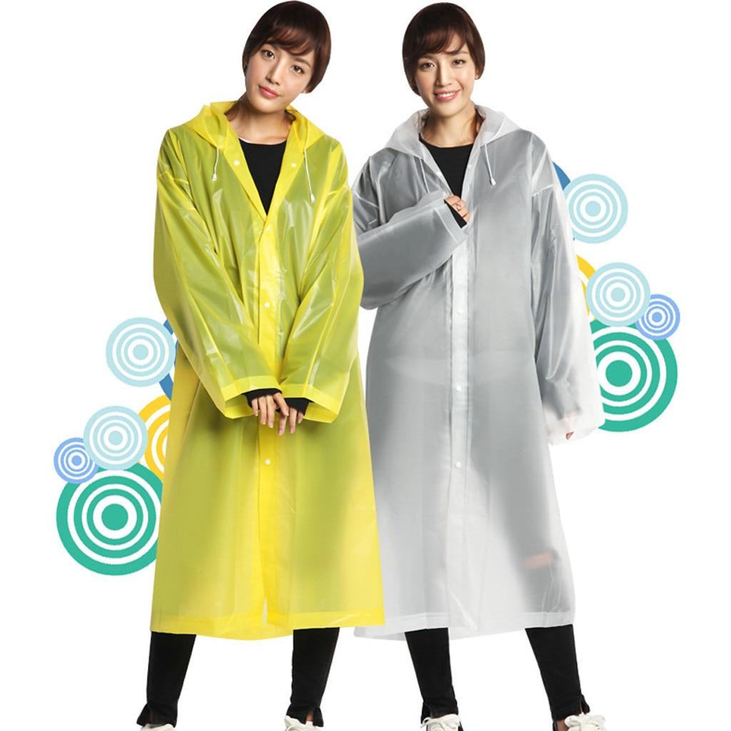 Fashion EVA Women Man Raincoat Thickened Waterproof Rain Poncho Coat Adult Clear Transparent Camping Hoodie Rainwear Suit