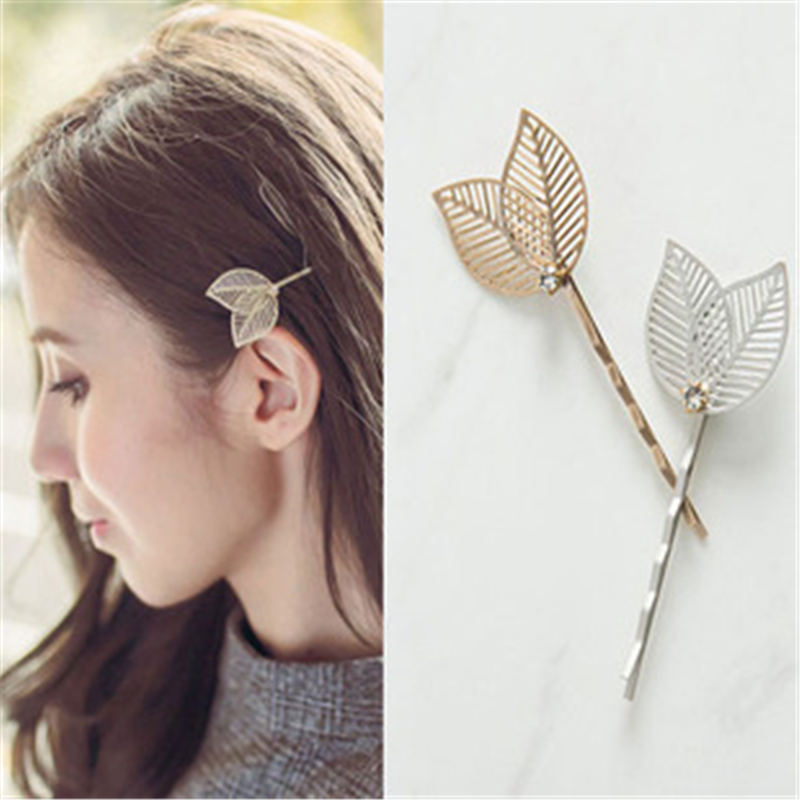 1 PC Vintage Side Clip Leaves Hairpins Jewelry Accessories Women Hollow Gold Silver Leaf Barrettes Hair Clips