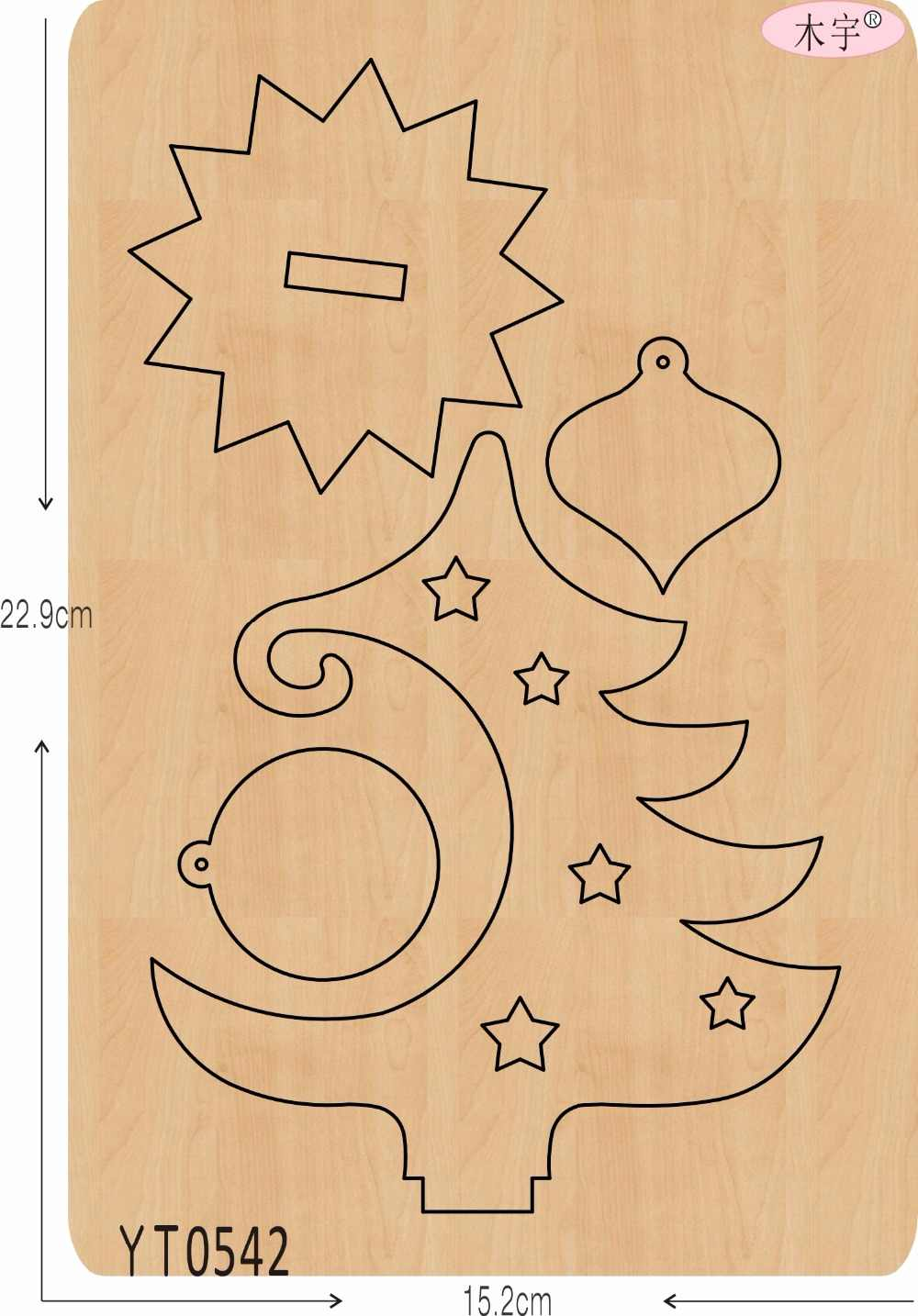 Árvore de natal-6 DIY new mould matrizes de corte de madeira para scrapbooking Thickness/15.8mm/YT0542