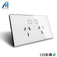 HUANGXING US AU Touch Wall Socket White Black Touch ON OFF Button Wall Double Electric Socket