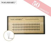 50 מקרים NAGARAKU ריס הרחבות 2D 6D Premade נפח ריסים ריסים מלאכותיים 0.07mm C תלתל רך וטבעי פו מינק