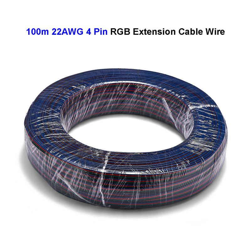 2roll 4 Pin RGB Extension Cable 100m 22AWG 20AWG 18AWG Power Electrical Wires For RGB LED