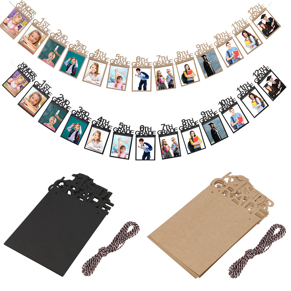 Dropshipping 1pc Child Graduation Gift Decorations kindergarten-12 Grade Photo Banner Wall image