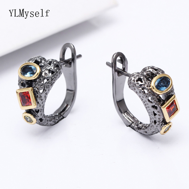 New look charming earring Pave Blue Olivine red stones Black gold 2 tone plate fantastic jewelry irregular vintage post earrings