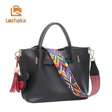 Loshaka Quaste Frauen Handtaschen Mit Stickerei Bunten Gurt Composite-taschen Beiläufige Schulterbeutel Hohe Kapazität Frauen Brieftasche 2 STÜCKE