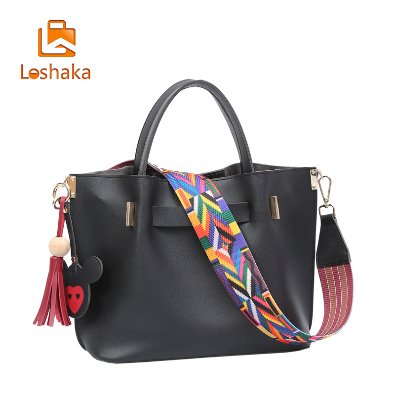 Loshaka Tassel Women Handbags With Embroidery Colorful Strap Composite Bags Casual Shoulder Bags High Capacity Women Wallet 2PCS