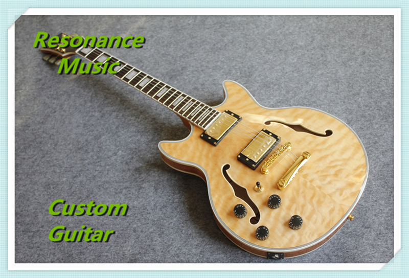 Nature Wood Quilted Finish Hollow Maple Body ES Electric Guitars China OEM Left Handed Guitar For Sale high quality flag custom finish left handed es electric guitars china hollow body