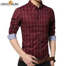 Univos куни сорочка Мода 5xl новый длинный рукав; рубашка в клетку модные мужские рубашки тонкий CHEMISE Homme Grande Taille Z2111