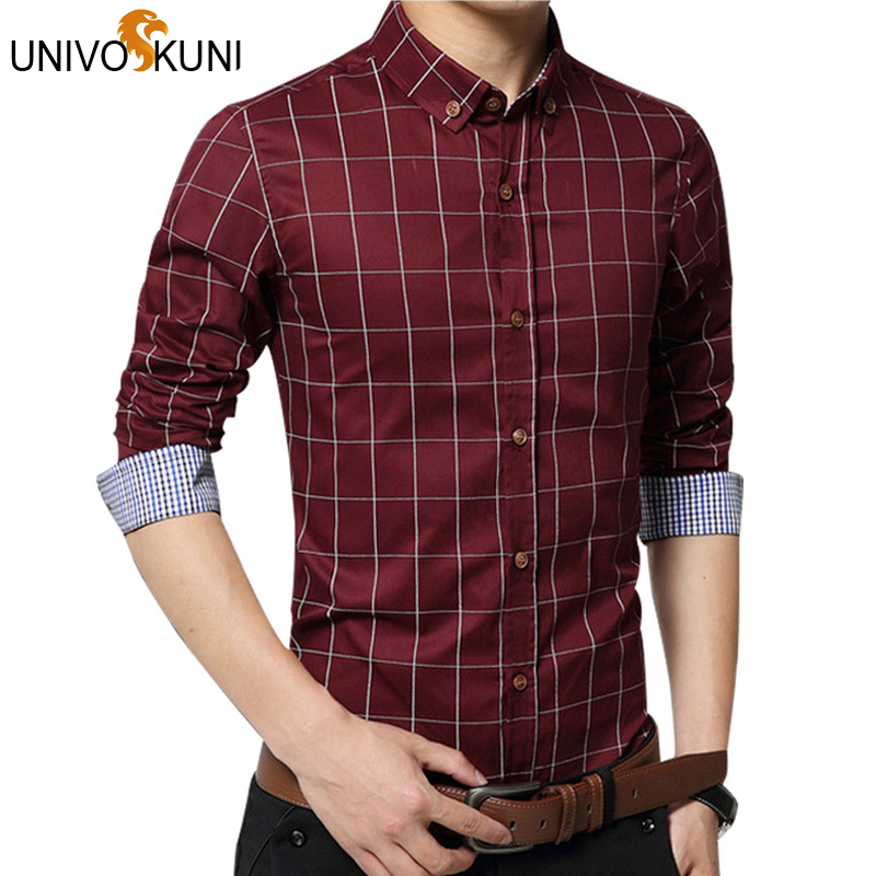 1165f5c35a UNIVOS KUNI Chemise Moda 5xl Nuevo Vestido de La Manera de Los Hombres  Camisas A Cuadros