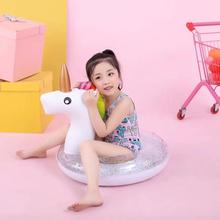 YUYU shiny Unicorn baby pool Float flamingo swim ring for children Sequin Swimming Ring Pool tube inflatable swimming pool Toys