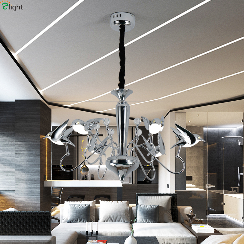 Modern Chrome Bird Led Pendant Chandeliers Lamp Acrylic Dining Room Led Chandeliers  Lighting Living Room Hanging Lights Fixtures In Chandeliers From Lights ...
