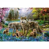5D Diamond Painting Cross Stitch Kit Wolf Family Series Diy Diamond Embroidery Rhinestone Needlework Resin Crafts
