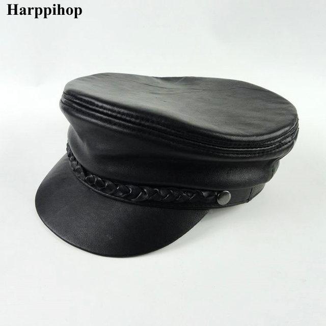 Genuine leather cadet cap navy cap student hat lovers cap classic original  design general 9c6375f238f