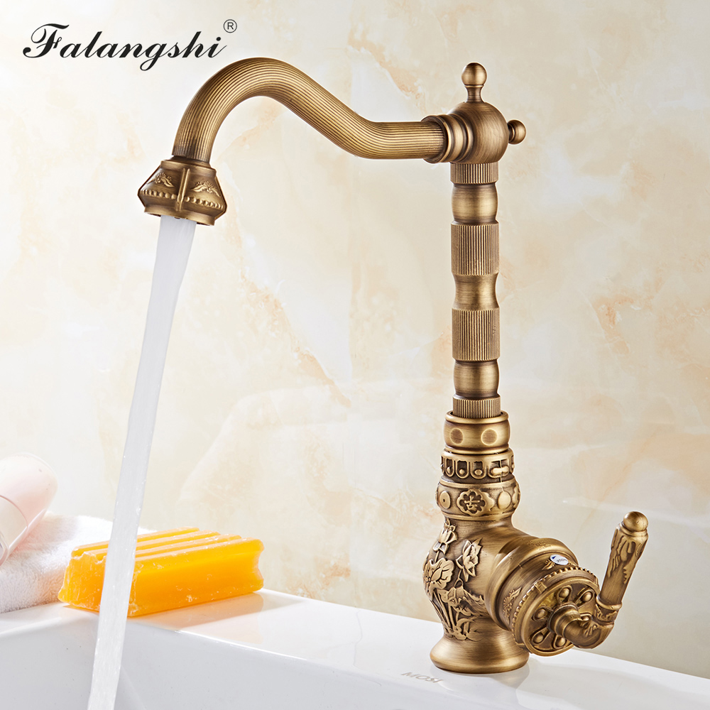 Classic Kitchen Faucets Sink Mixer Antique Carving Solid Brass Cold And Hot Water Taps 360 Degree Rotation Basin Mixer WB1222