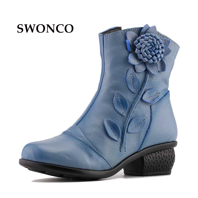 Cow Leather Comfortable Retro Women Ankle Boots Short Plush Warm in Winter 4cm Square Heel Rubber Sole Sweet Flower Female Shoes