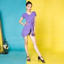 6 Colors Rumba Samba Latin Dance Costume New Adult Female Summer Dance Practice Suit Dress DA625 недорого