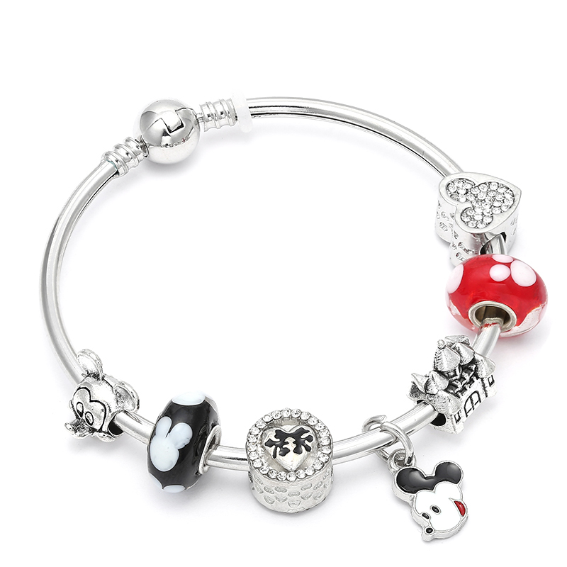 Silver Color Mickey Minnie Beads Original Charm Bracelet For Women Fine Jewelry European ...
