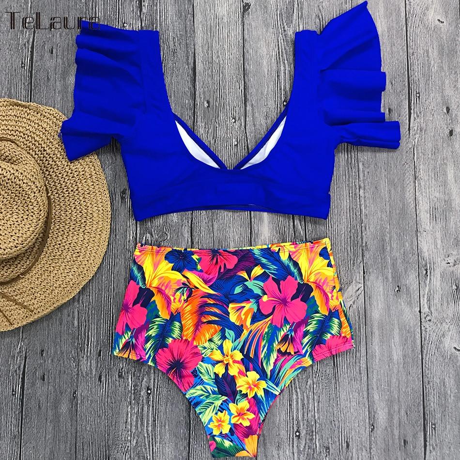 HTB1jlZhNNnaK1RjSZFBq6AW7VXaE Ruffle High Waist Bikini 2019 Swimwear Women Swimsuit Push Up Bikinis Women Biquini Print Swimsuit Female Beachwear Bathing Suit