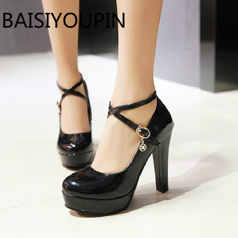 Women Sexy High Heels Shoes Cross Strap Large Size 42 43 White Black Red Patent Leather Shoes Wedding Shoes Paltform Thick Pumps women fashion patent pointed toe buckle strap stiletto shoes sexy cross strap red high heels pumps wedding dress shoes plus size