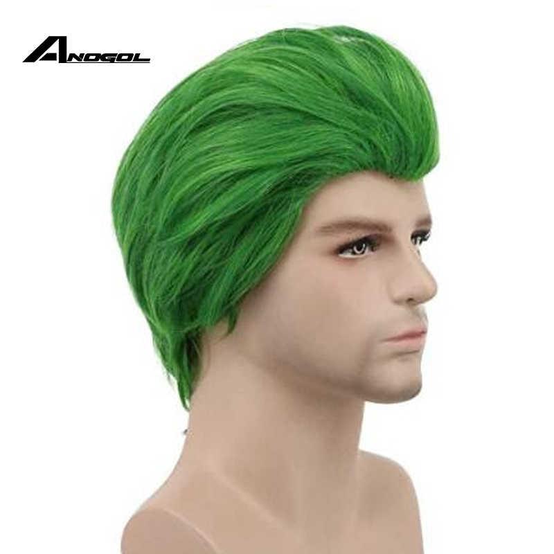 Anogol samobójstwo Squad mroczny rycerz Batman Joker krótkie zielone prosto peruka syntetyczna cosplay na impreza z okazji halloween do odgrywania ról