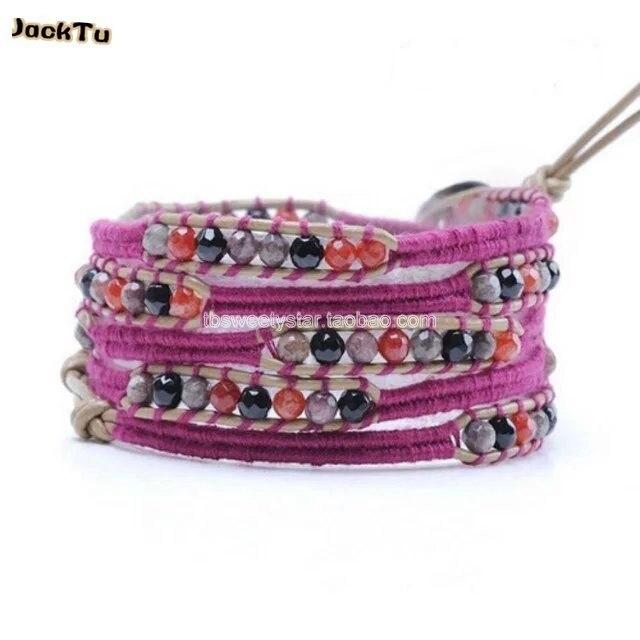 onyx mix red onyx thread bracelet leather