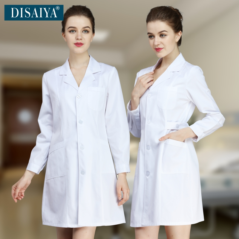 Hot sales Medical white coat long-sleeve doctor clothing female male lab coat physician services slim work wear hospital Uniform