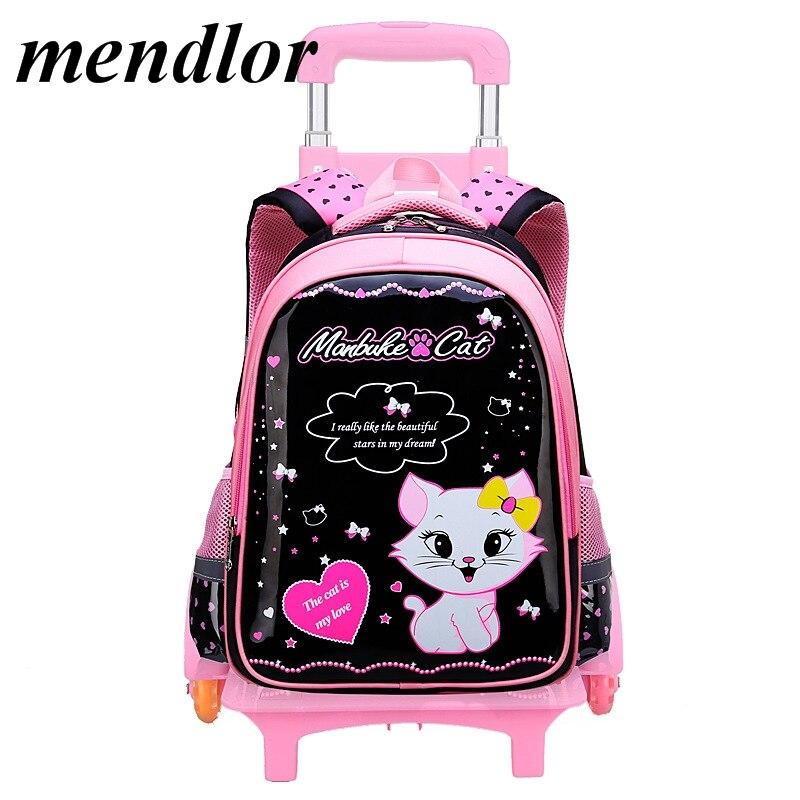 купить 2018 new Children Trolley School Bag Wheeled School Bag Grils Kids cat printing School trolley Backpacks Travel Luggage Backpack по цене 3247.56 рублей